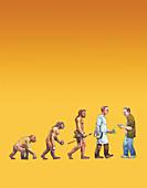 Backward step in human evolution,illustration