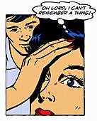 Woman shocked at memory loss,illustration