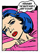 Woman lying awake sweating at night,illustration