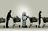 Robot in supermarket queue,illustration