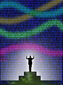 Conductor conducting binary code,illustration