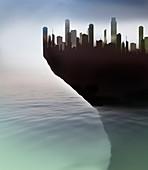 Precarious coastal city,illustration