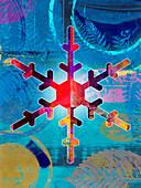 Colourful snowflake,illustration
