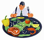 Global food supply,illustration