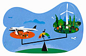 Air travel versus the environment,conceptual illustration