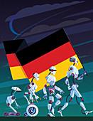 Evolution of robots carrying German flag,illustration