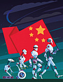 Evolution of robots carrying Chinese flag,illustration