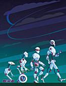 Evolution of robots,illustration