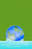 Globe sinking in water,illustration