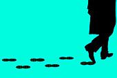 Man leaving data footprint,illustration