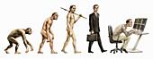 Evolution stages of man,illustration
