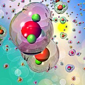 Water molecules,illustration