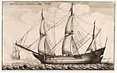Dutch freighter sailing ship,17th century