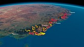 Eastern Australia bushfires,satellite map