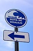 Tsunami warning sign in Puerto Rico
