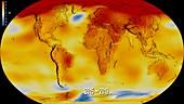 Global temperature anomalies,2015-2019