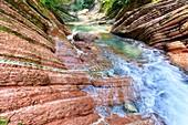 Jurassic limestone in Breccia Gorge,Switzerland