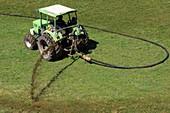 Spraying manure as fertilizer