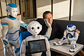 Rodolphe Gelin with Romeo, Nao and Pepper robots