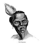 Tswana man,19th Century illustration