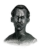 Tswana man,19th Century illustration