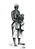 Guinean woman and child,19th Century illustration
