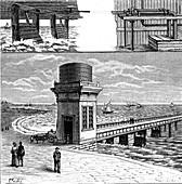 Harnessing wave energy,19th Century illustration