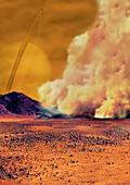 Dust storm on Titan,illustration