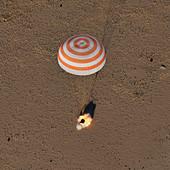 Soyuz MS-08 capsule landing by parachute,2018