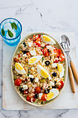 Italian rice salad with eggs and tuna