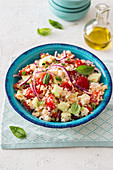 Panzanella with cucumber and feta