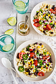Farfalle salad with a mexican twist