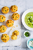 Corn meal muffins with jalapeno peppers and cheddar cheese