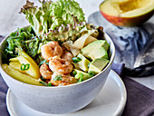 Poke bowl with shrimp and avocado