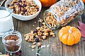 Autumnal pumpkin spice granola with cranberrries
