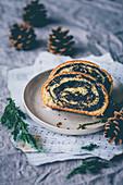 Rustic poppy seed roll cake