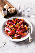 Blood orange and red chicory salad