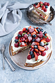 Gluten-free layer cake with summer berries