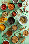 Indian spices, view from above