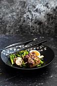 Chinese style pork belly ramen salad