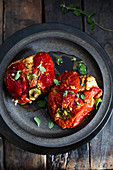 Roasted pepper stuffed with cheese