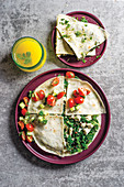 Spinach and feta quesadillas with smoked chicken