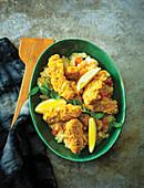 Fish goujons with carrot and potato mash