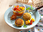 Couscous fritters with a pepper salad