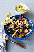 Mussel bouillabaisse with basil rouille