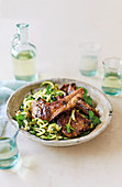 Cumin and oregano lamb chops with zoodles