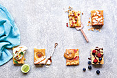 Five biscuit bar ideas - with figs, meringue, banana, speckled, choclate and marshmallow