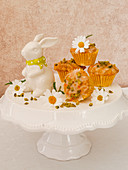Mini muffins with carrots, nuts and pistachios for Easter