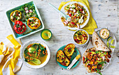 Five ways with a can of chickpeas - stuffed pepper, soup, salad, spread and tortillas