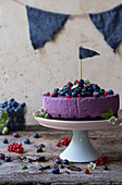 A blueberry and redcurrant cake for a party